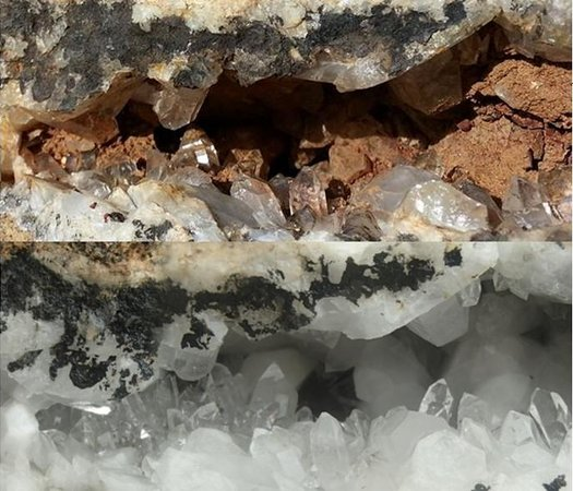 Ron Coleman Mine: Before/After Quartz vein in large rock