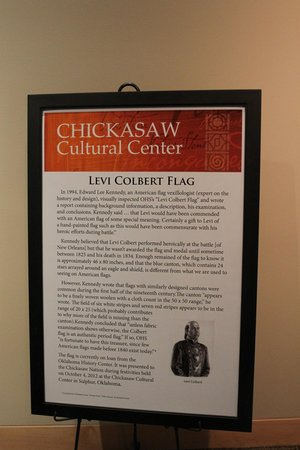 Chickasaw Cultural Center: Information about the Colbert Flag on display