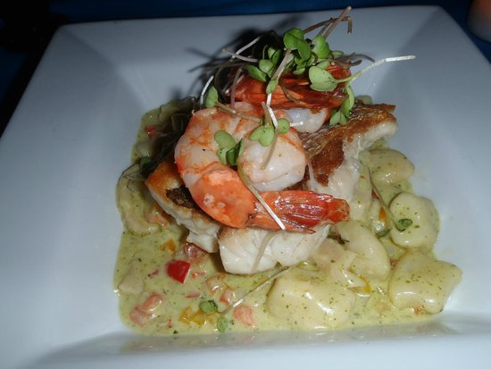 Bili: Cassava gnocchi with shrimps, conch and snapper