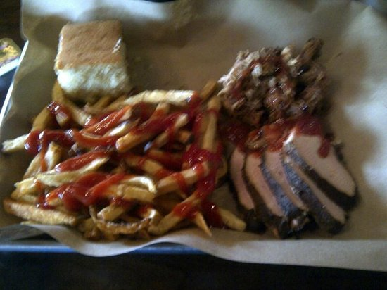 Mission BBQ: Turkey and Pork sampler, with fries and corn bread