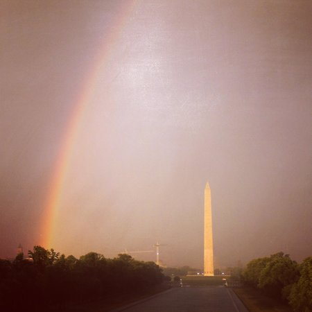 Bike and Roll DC : Rainbow after the storm over the Washington Monument