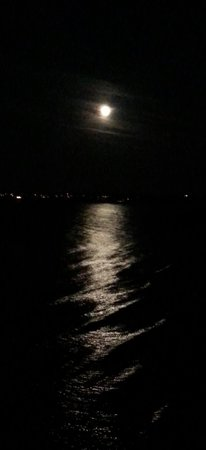 Pedn Olva Hotel: moon over the water of St Ives Bay taken from the private balcony.  wonderful way to end tye day