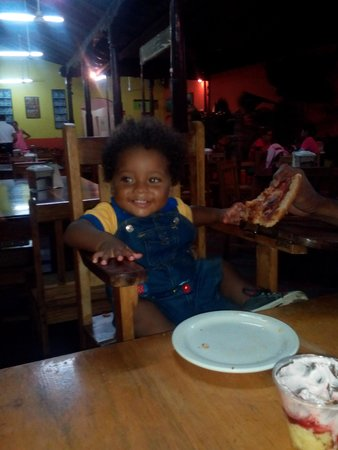 Tele Pizza: His first pizza - he ate 2 slices!