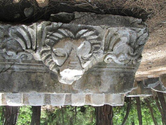 Phaselis Antique City: gebeeldhouwde figuren op de stenen