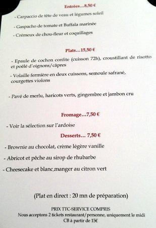 Danton...restaurant : menu