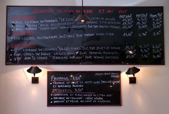 Danton...restaurant : sélection de vins servis au pot ou au verre