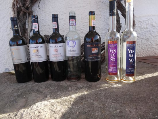 Santorini Wine Tour: Some of the wines at one of the wineries
