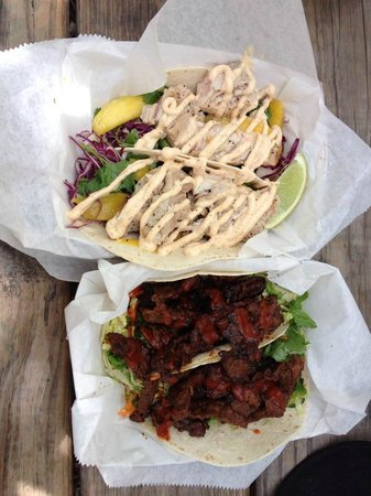 Garbo's Grill: Cayo Fish Tacos and Bulgogi Tacos...excellent!