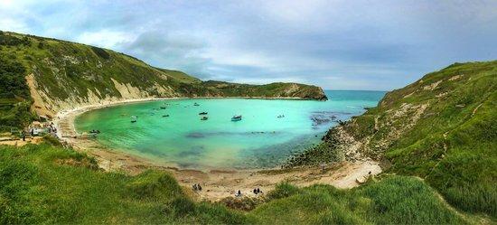 Lulworth Cove and Durdle Door : The view over the place when we went there this July.