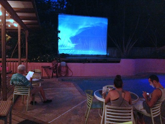 The Pool Bar: Surf videos. Muted. Great slow jams playing for atmosphere.