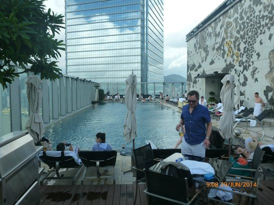 W Hong Kong: pool on the roof of W with jez hodgson in the fore ground