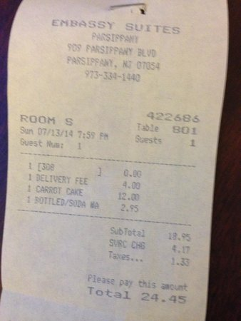 Embassy Suites by Hilton Parsippany: $24 for a piece of cake and a bottle of water.