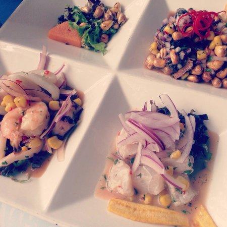 14 Inkas: Este plato es trilogía de ceviche, precio 15 dólares, en un solo plato pruebas 3 ceviches de pes