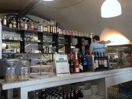 Humus Das Bio Bistro: Counter with lots of interesting thing for sale