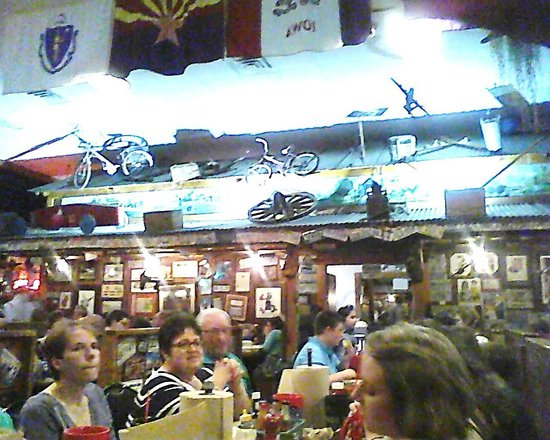 Lambert's Cafe: Bikes and Trains above heads