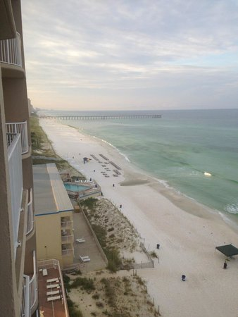Tidewater Beach Resort: View looking West towards the pier from room 815