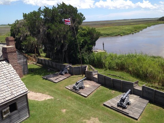 Fort King George Historic Site: Part of the battlements overlooking the river and marsh