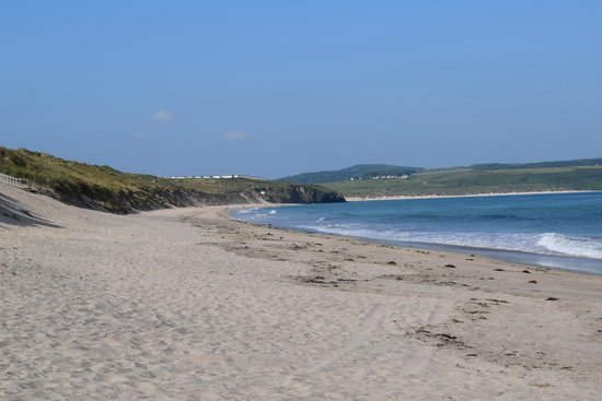 St Ives Bay Holiday Park: View south from the beach in front of the site