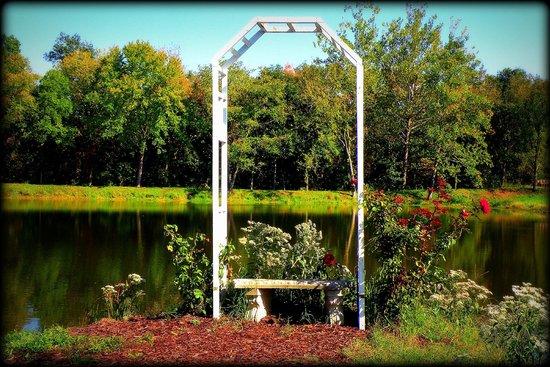 Villa Antonio Winery: rose trellis by the pond at Villa Antonio