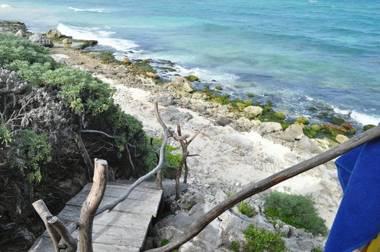 Azulik: View down staircase to water from Romance Villa