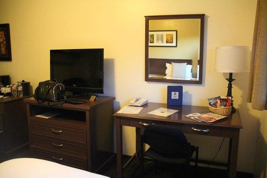 Mammoth Creek Inn: Schreibtisch & TV