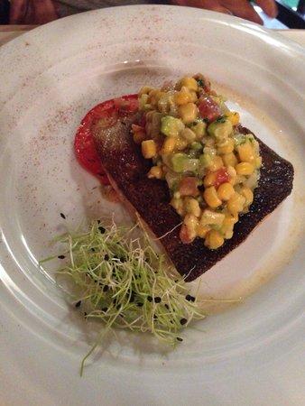 Trilogija : Sea trout with corn and avocado relish