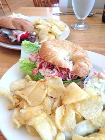 Mae's Cafe : Plum burger in back, lobster croissant in front