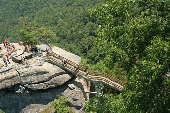 Chimney Rock State Park : A view of the stairs from the overlook to Chimney Rock