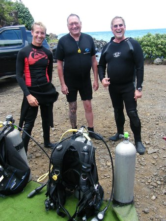 Fathom Five Divers: Charles, Kelly (middle and right) with our first dive instructor, Ben