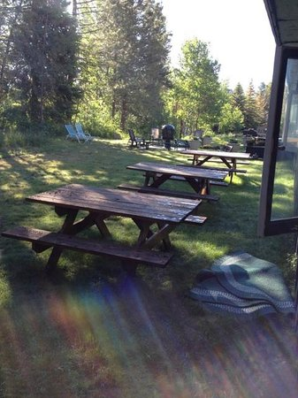 Brundage Inn: Backyard - community tables and BBQ's