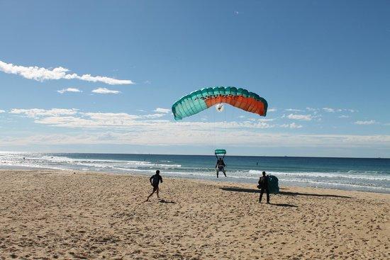 Sunshine Coast Skydivers: Just about to land at Currimundi Lake