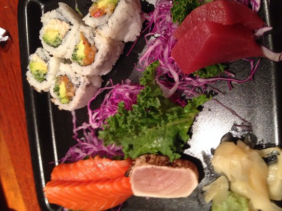 Fubuki Sushi: Combo two - missing one piece of sashimi - it looked so appetizing I almost forgot to take the p