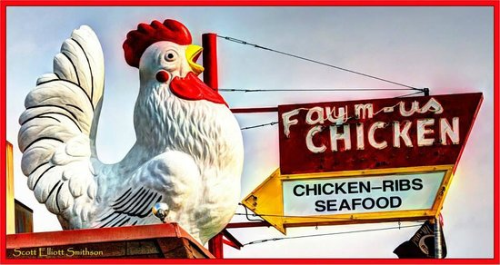 Faym-Us Chicken and Seafood : Chicken on top of the roof!