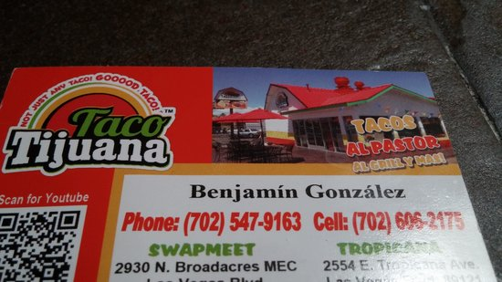 taco tijuana business card note that there is a typo on the address - Business Cards Las Vegas