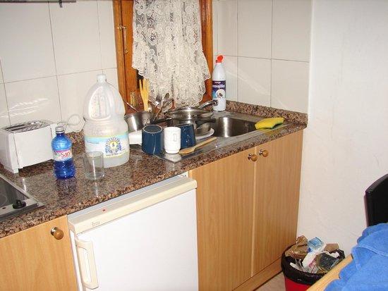 Las Lilas Apartments: Cocina pequeña y falta microondas
