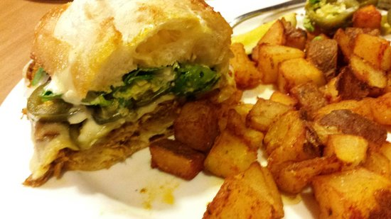 Megg's Cafe: Pork torta (I had already eaten 1/2 by the time I remembered to take a picture.)