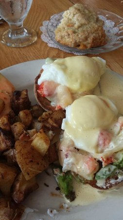 Mae's Cafe: Ginger Scone and Lobster Benedict