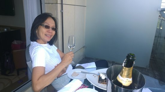 Paris Marriott Champs Elysees Hotel: Enjoying bubbly on the balcony