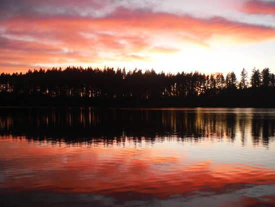 The Lady of the Lake: beautiful sunset over offut Lake