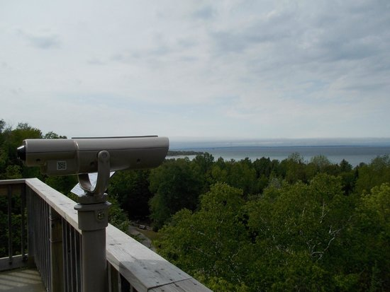Historic Mill Creek Discovery Park : View of Mackinac Island in the distance from atop the tower!