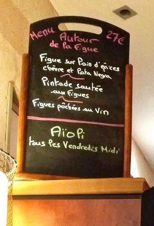 Le 9 Restaurant : The special 3 course fig based menu for 27 Euros