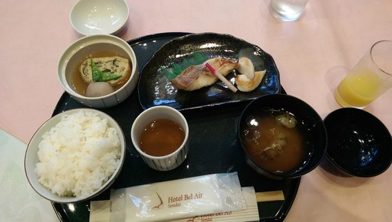 Hotel Bel Air Sendai: One of the breakfast options.  Fish, Miso soup, rice, tea, egg in broth.