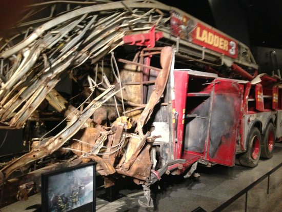 The National 9/11 Memorial & Museum: A fire truck damaged in the collapse
