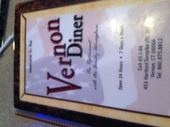 Vernon Diner: Front of menu
