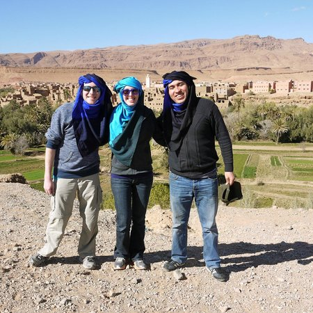 Ouarzazate Unlimited Marrakech Day Tours: With Jaouad at a scenic view where locals tried to sell us head scarves.