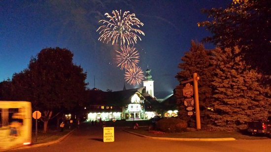 Frankenmuth fireworks over Bavarian Inn Lodge