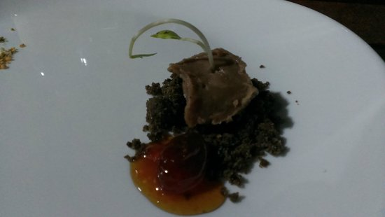 El Tupe: Black  Bean Pudding with Cherry Tomato Jam on Crumbled Banuelos