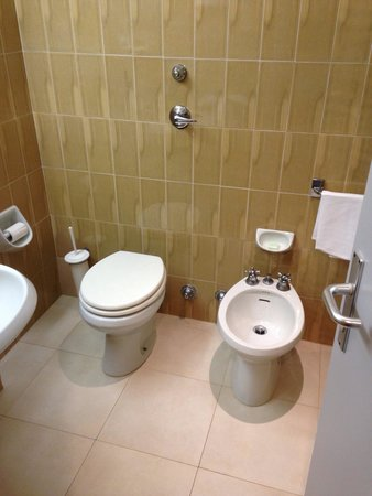 NH La Spezia: My room's bathroom, 164 euros per night. It really needs refurbishment