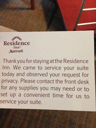 Residence Inn Atlanta Norcross/Peachtree Corners: Housekeeping Card