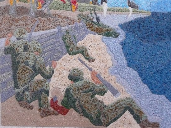 National Memorial Cemetery of the Pacific: Beautiful tinted mosaic concrete.